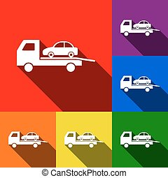 Tow car evacuation sign. Vector. Set of icons with flat shadows at red, orange, yellow, green, blue and violet background.