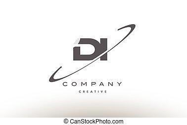 di d i swoosh grey alphabet letter logo - di d i grey swoosh...