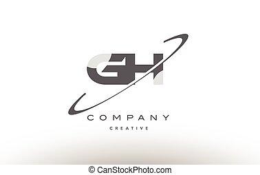 G,  H,  swoosh, gris, carta, alfabeto, logotipo,  gh