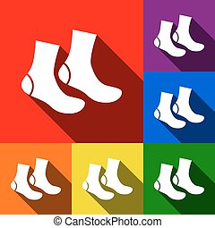 Socks sign. Vector. Set of icons with flat shadows at red,...