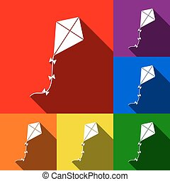 Kite sign. Vector. Set of icons with flat shadows at red,...