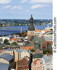 Old town of Riga - bird's-eye view from Riga cathedral on...