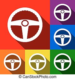 Car driver sign. Vector. Set of icons with flat shadows at red, orange, yellow, green, blue and violet background.