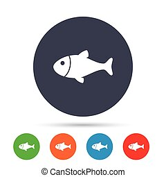 Fish sign icon. Fishing symbol. Round colourful buttons with...
