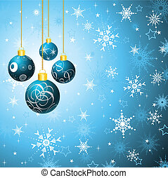 Christmas bauble background - Hanging Christmas baubles on a...