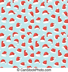 Santa christmas hat vector illustration seamless pattern -...