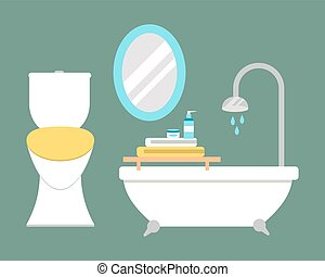 Bathroom icons colored set with process water savings...