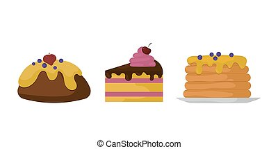 Sweets food bakery dessert sugar confectionery lollipop design and snack chocolate cake colorful holiday candy caramel icon vector illustration.