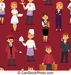 Hotel professions people workers happy receptionist standing...