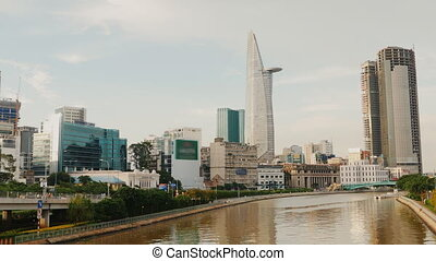Panorama view of Ho Chi Minh City in the evening. Vietnam. -...