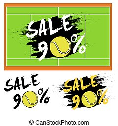 Set banners sale 90 percent with tennis ball. Drawn in a...