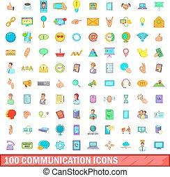 100 communication icons set, cartoon style