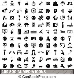 100 social media icons set in simple style