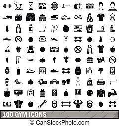 100 gym icons set in simple style