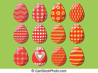 Easter egg isolated, set of design elements for spring