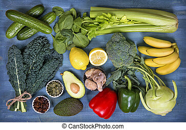 Alkaline foods above the wooden background