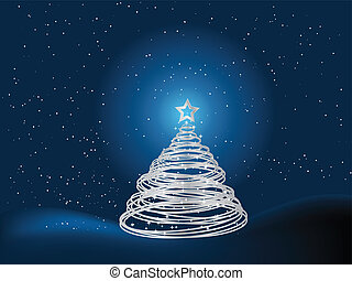Silver christmas tree background