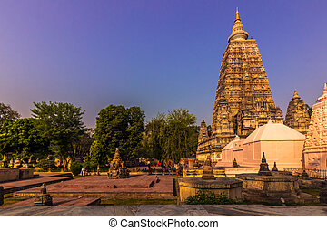 October 30, 2014: The Mahabodhi Buddhist temple in Bodhgaya,...