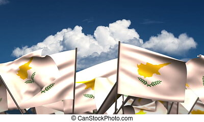 Waving Cyprus Flags (seamless & alpha channel)