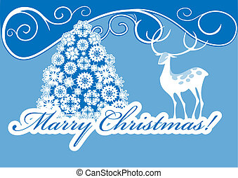 White Stag and Christmas tree