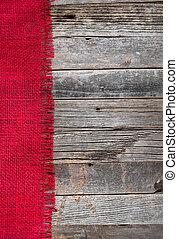 frayed burlap on wood - red frayed burlap border on...