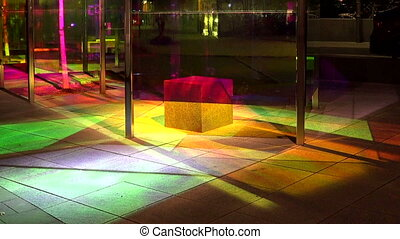 A bus stop with colored lights. Stockholm. Sweden. - A bus...