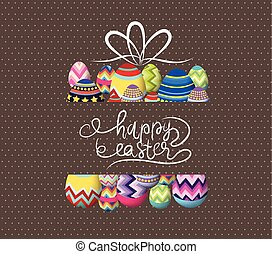 Brown paper card with gift easter eggs