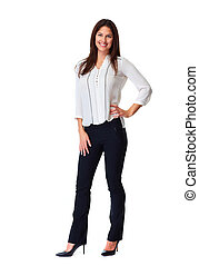 Business woman white background - Young beautiful business...