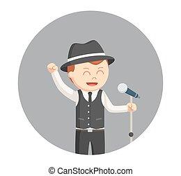 jazz singer man in circle background