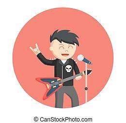 rock singer man in circle background