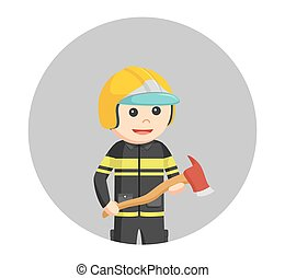 fireman holding axe in circle background