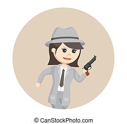 woman spy agent with gun in circle background