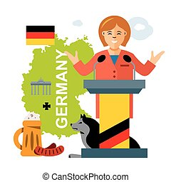 Vector German policy. Woman politician. Flat style colorful...