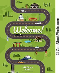 Welcome to Japan poster with famous attractions along...