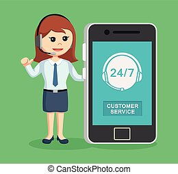 call center woman with smartphone
