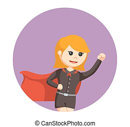 super office girl flying in circle background