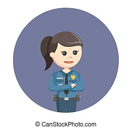 police woman in circle background