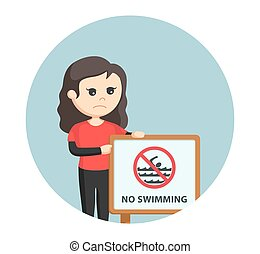 female lifeguard with no swimming sign in circle background
