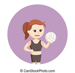 volley beach girl holding volley ball in circle background