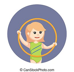 woman gymnastic with mace hoop in circle background
