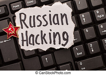 Russian hacking, inscription on torn paper sheet. - Russian...