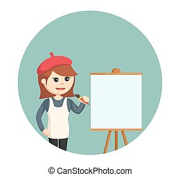 woman painter with empty canvas in circle background