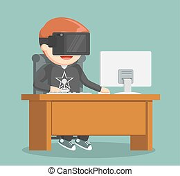 gamer playing pc game with vr device