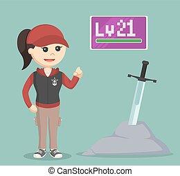 level 21 female rpg gamer standing beside legendary sword