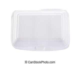Styrofoam meal box on white background