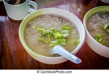 Two Mush in the bowl for  food breakfast Thai style.
