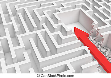 3d rendering of a square maze with a red arrow borrowing to the center in closeup view.