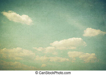 Vintage clouds and blue sky with texture effect.