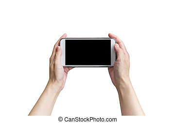 Hand female holding phone on isolated white with clipping path.