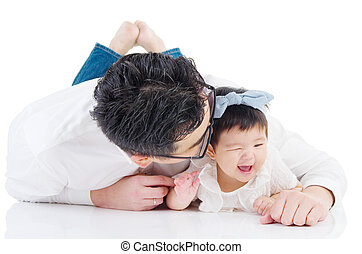 Asian family - Asian father with his cute daughter